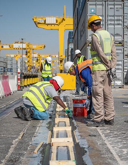 Crane Rail Grout Infill Process